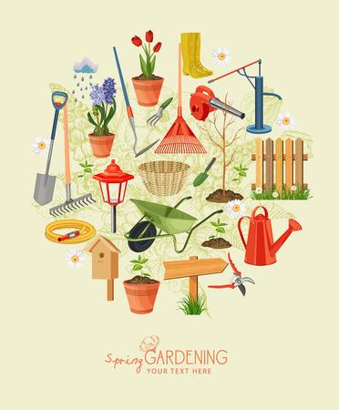 春の園芸。庭のアイコンを設定します。ビンテージ ポスター