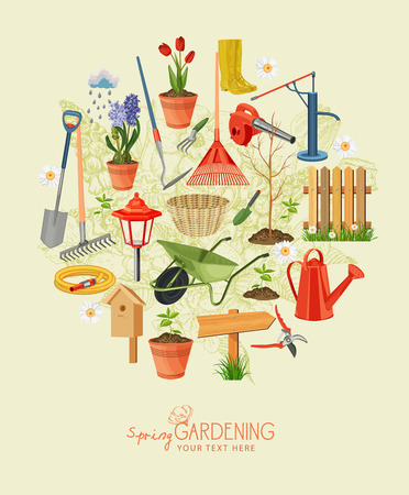 garden design: Spring gardening. Garden icon set. Vintage poster