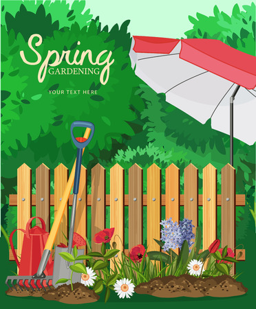 landscape gardener: Garden card poster design. Vector illustration