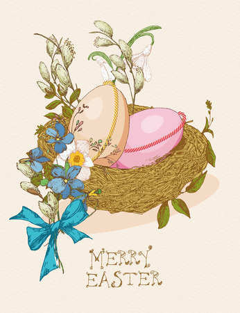 pussy: Easter greeting card with egg, nest, flowers on beige background. Pussy willow twigs. Merry easter poster.