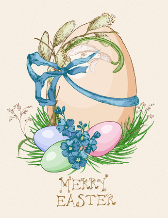 pussy willow: Easter greeting card with eggs, flowers on beige background. Pussy willow twigs. Merry easter poster. Illustration