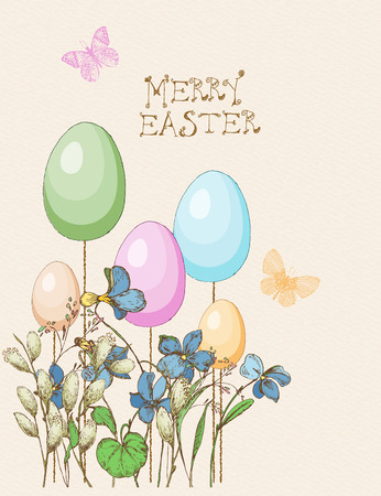 pussy willow: Easter greeting card with eggs, butterfly, flowers on beige background. Pussy willow twigs. Merry easter poster. Illustration