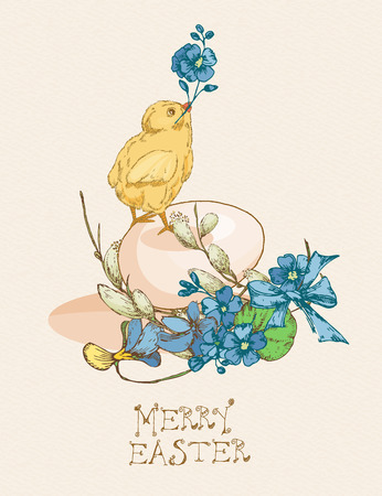 pussy willow: Easter greeting card with egg, chicken, flowers on beige background. Pussy willow twigs. Merry easter poster. Illustration