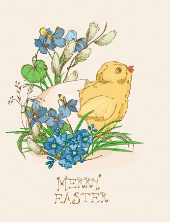 pussy: Easter greeting card with egg, chicken, flowers on beige background. Pussy willow twigs. Merry easter poster. Illustration