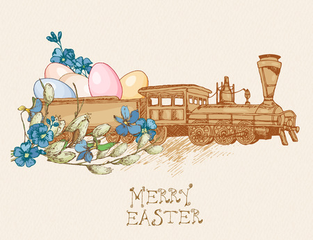 pussy willow: Easter greeting card with egg, flowers, train on beige background. Pussy willow twigs. Merry easter poster. Illustration