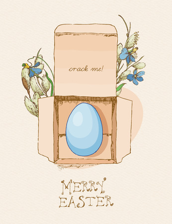 pussy willow: Easter greeting card with egg in box, flowers on beige background. Pussy willow twigs. Merry easter poster.