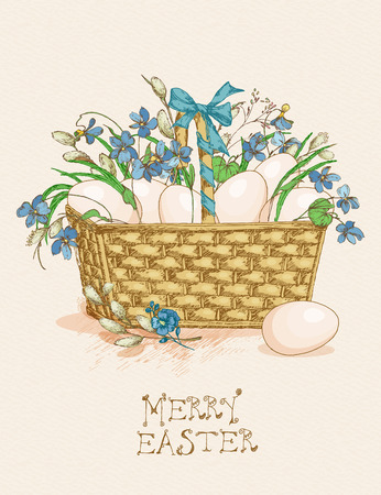 pussy willow: Easter greeting card with eggs in a busket, flowers on beige background. Pussy willow twigs. Merry easter poster.