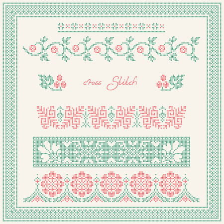 cross stitch: Cross stitch. Embroidered frame in folk style.