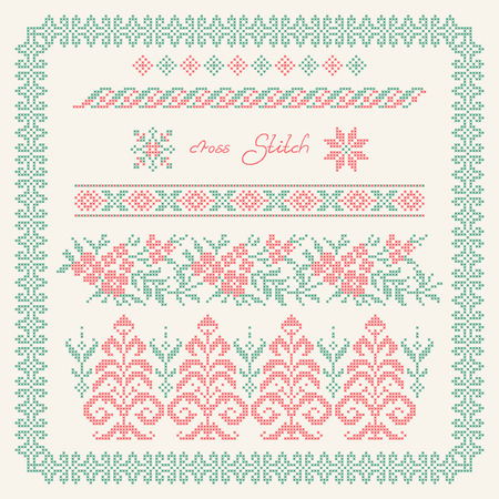cross stitch: Cross stitch. Embroidered frame in folk style.