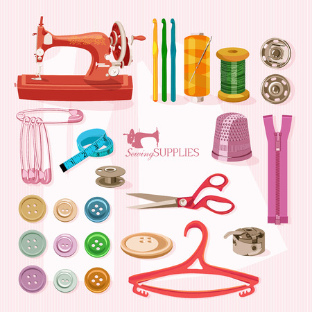 kit de costura: Suministros y accesorios para la costura en el fondo rosa claro. Vector equipo de costura