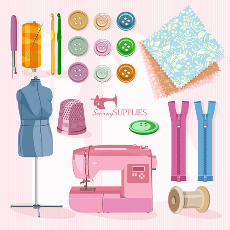 Supplies and accessories for sewing on light pink background. Vector sewing equipment Illustration
