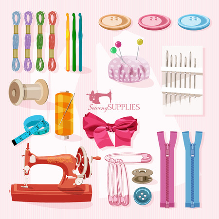 machines: Supplies and accessories for sewing on light pink background. Vector sewing equipment Illustration