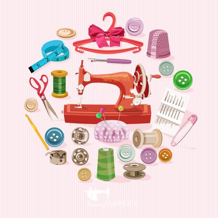 핑크 빛 배경에 바느질을위한 소모품 및 부속품. 벡터 재봉 장비 일러스트