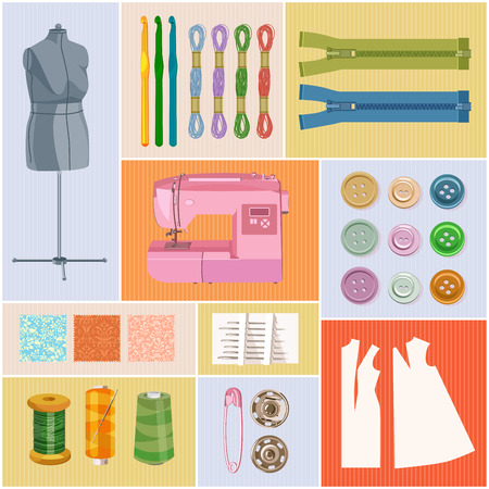 needle cushion: Supplies and accessories for sewing on light pink background. Vector sewing equipment Illustration