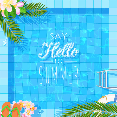 Top view of swimming pool with clean water. Summer poster Stock Illustratie