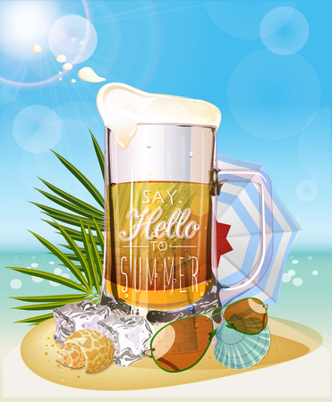 draft beer: Mug of beer. Seaside view on sunny day with sand and palm leaves.