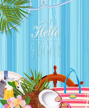 beach bag: Summer holidays illustration with copyspace Illustration