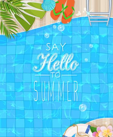 summer: Vista superior de la piscina con agua limpia. Cartel de Verano Vectores