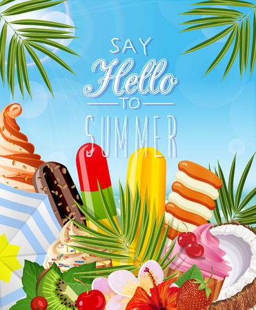 Poster with tropical plants, palm leaves, ice cream, fruit, berries.