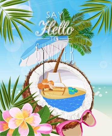 tropical flower: Seaside view on sunny day with sand, coconut, beach chair, sunglasses, beach umbrella, tropical flower and palm leaves. Illustration