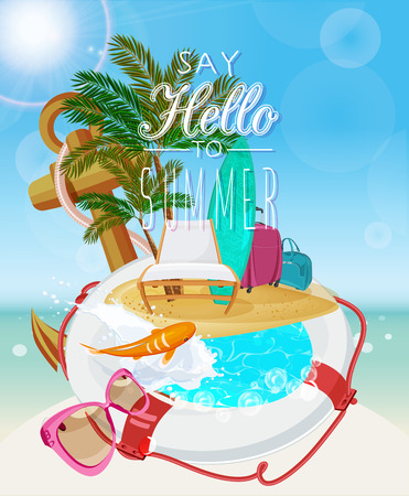 preserver: Seaside view on sunny day with sand, beach chair, anchor, life preserver, fish, splash, sunglasses and palm leaves. Illustration