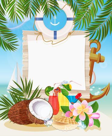 Bar de praia tropical. Vista para o mar no dia ensolarado com areia e folhas de palmeira.
