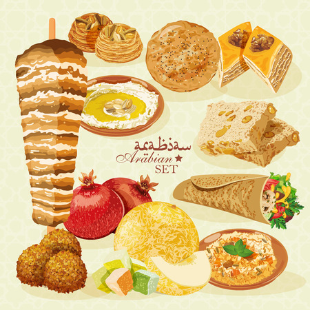 comida arabe: La comida árabe. Cocina oriental tradicional.