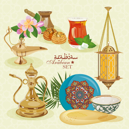 date palm: Arabic set. Traditional eastern life.