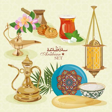 dattelpalme: Arabisch-Set. Traditionelle �stliche Leben. Illustration