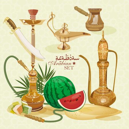 Arabic set. Traditional eastern life. Vector