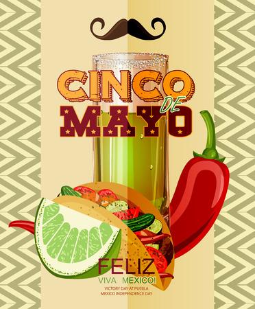 fiesta: Cinco de Mayo. Feliz. Viva Mexico. Text in Spanish. Day victory at Puebla, Mexico Independence Day. Illustration