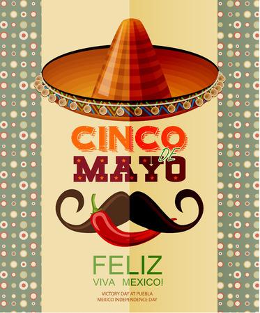 caricatura mexicana: Cinco de Mayo. Feliz. Viva Mexico. Texto en español. Día de la Victoria en Puebla, Día de la Independencia de México. Vectores