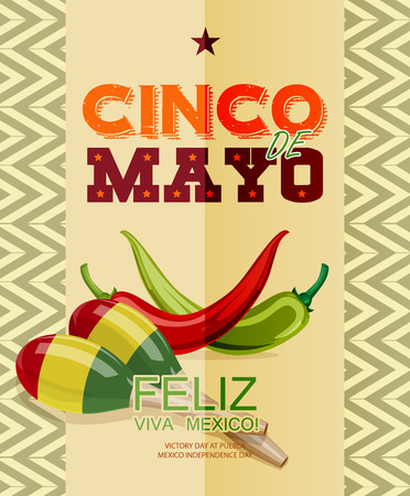 mexican cartoon: Cinco de Mayo. Feliz. Viva Mexico. Text in Spanish. Day victory at Puebla, Mexico Independence Day. Illustration