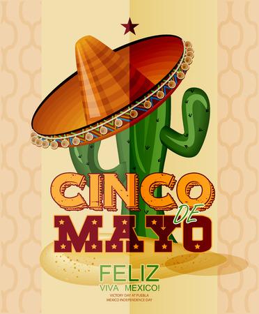 Cinco de Mayo. Feliz. Viva Mexico. Testo in spagnolo. Giorno della Vittoria a Puebla, in Messico Giorno dell'Indipendenza. Archivio Fotografico - 39096564