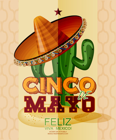 Cinco de Mayo. Feliz. Viva Mexico. Text in Spanish. Day victory at Puebla, Mexico Independence Day. 向量圖像