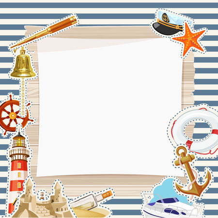 Vector Frame in maritieme stijl Stock Illustratie
