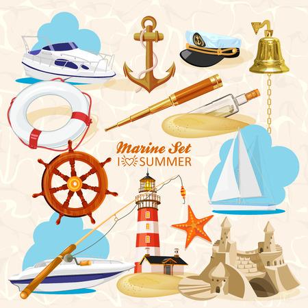 fernrohr: Satz von nautischen oder Marine-Elemente mit Anker, Schiffsräder, gekreuzte Dreizack, Leuchtturm, Glocke, Stab, Seesterne, Teleskop, Rettungsleine, Glasflasche mit Meldung für marine Heraldik Design