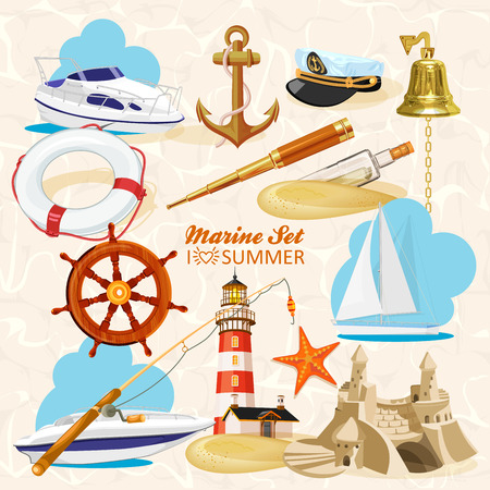 Set of nautical or naval elements with anchor, ship wheel, crossed tridents, lighthouse, bell, rod, starfish, telescope, lifeline, glass bottle with message for marine heraldry design Illustration