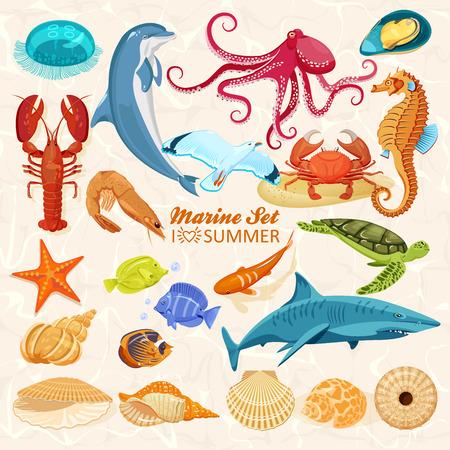 Set of sea animals Çizim