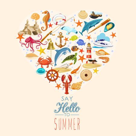 arrange: Summer concept. Elements arrange in the form of heart. Vector illustration. Marine symbols. Sea leisure sport. Summer time Illustration