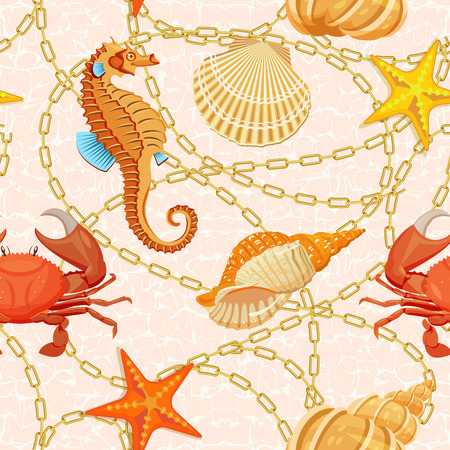 Vector seamless pattern with fishes, corrals, shells, seaweeds, sea-horse and other underwater creatures. Ocean background. Tropical sea life design. Illustration