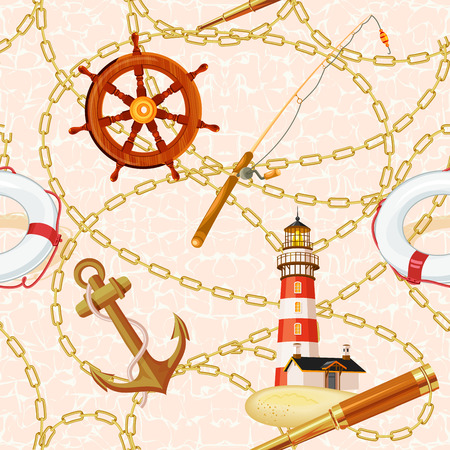 Marine vector background with lighthouse, rod, telescope, lifeline, anchor. Can be used for wallpapers, web page backgrounds. Seamless pattern with sea elements. Zdjęcie Seryjne - 39750512