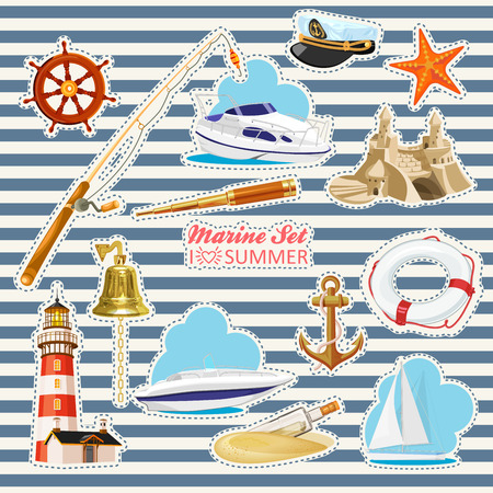 lifeline: Set of nautical or naval elements with anchor ship wheel crossed tridents lighthouse bell rod starfish telescope lifeline glass bottle with message for marine heraldry design Illustration