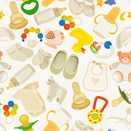 seamless pattern with colorful baby items. Neutral design Vector