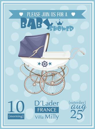 Ducha del bebé plantilla de invitación de ilustración vectorial. Color azul Foto de archivo - 40365914