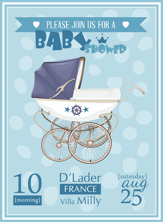 Baby shower boy invitation template vector illustration. Blue color