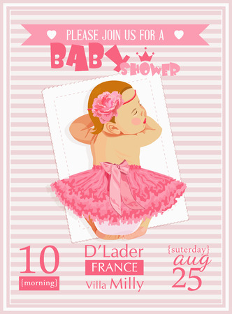 new born baby girl: Baby shower girl invitation template vector illustration. Pink rose red colors Illustration