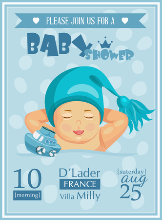 Baby shower boy invitation template vector illustration. Blue color Vector