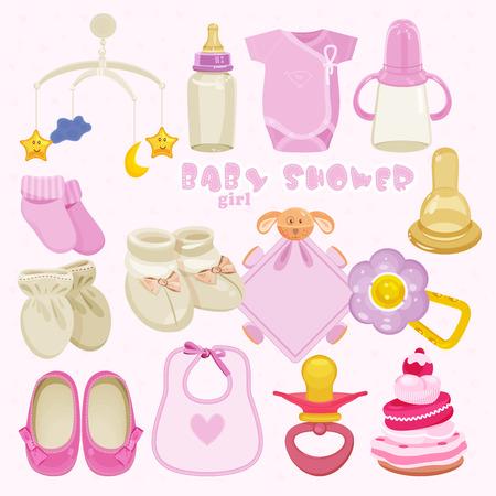bib: Baby girl shower set. vector illustration Illustration