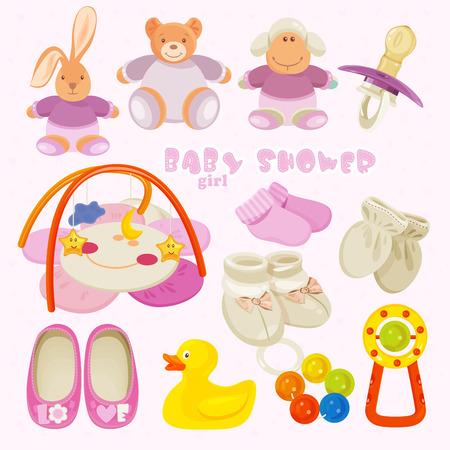 baby girl: Baby girl shower set. vector illustration Illustration